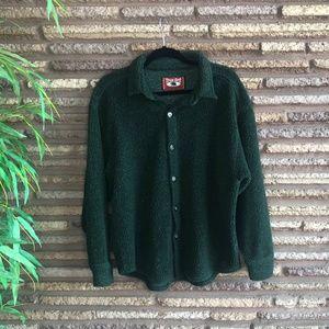 True Grit Mens Green Sherpa Fleece Button Front